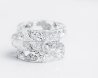 Resin Stacking Ring Silver Flakes Icicle Small Faceted Ring OOAK transparent white minimalist jewelry