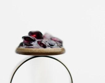 Raw Garnet Ring Adjustable Cocktail Ring January Birthstone OOAK boho jewelry