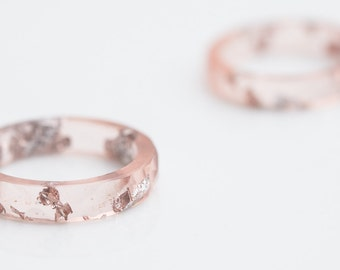 Nude Blush Pink Resin Ring Stacking Ring Silver Flakes Faceted Ring OOAK pastel pink geometric wedding jewelry