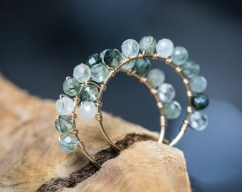 Green Rutilated Quartz Hoop Earrings Luxury 14K Gold filled wire wrapped