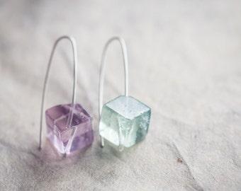 Modern Earrings Fluorite Cube Mint Purple Argentium Sterling silver Geometric Jewelry pastel minimalist