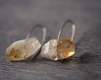 Modern Citrine Earrings 14K Goldfilled Hook earrings