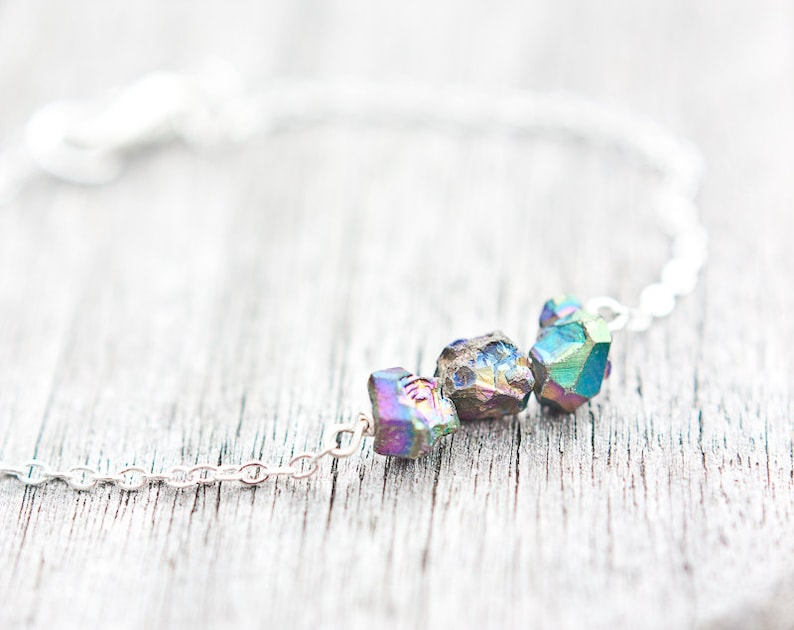 Druzy Bracelet Titanium rainbow Modern Minimalist jewelry Bohemian spring fashion rustic neutral silver gray