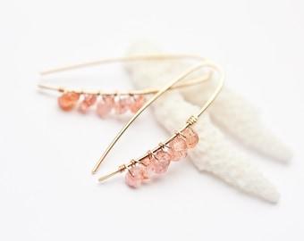 Modern Simple Hook Earrings14K Gold Peach Sunstone Wire Wrapped hoops pastel pink Minimalist design minimal chic