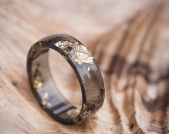 Black Resin Ring Men Ring Gold Flakes Big Size 10 Smooth Ring OOAK for him