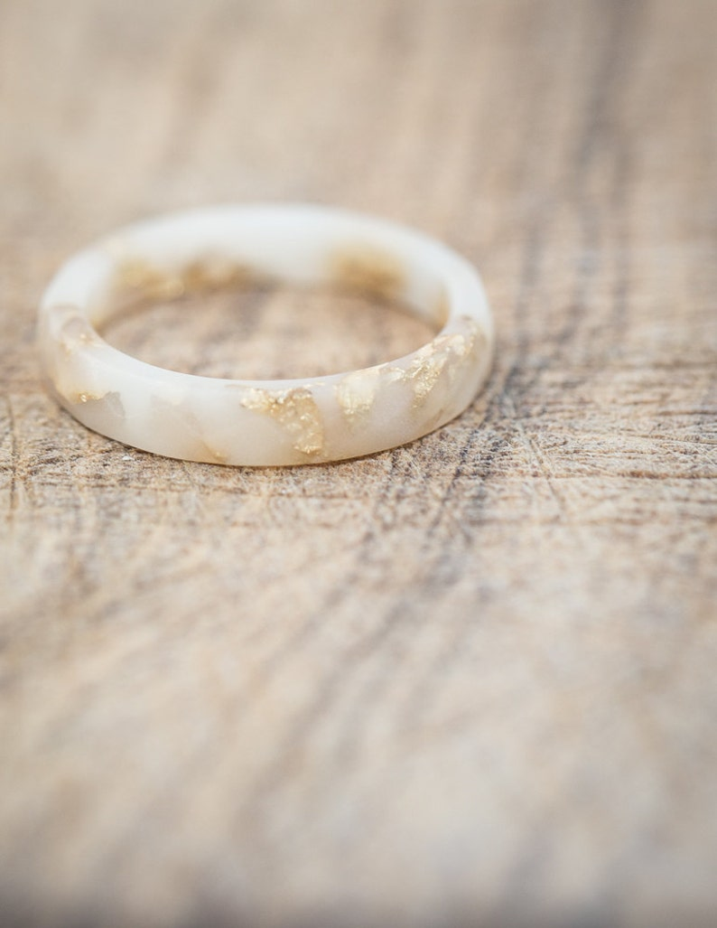 9d4bc3e26899 Vanilla White Resin Stacking Skinny Ring Gold Flakes Small