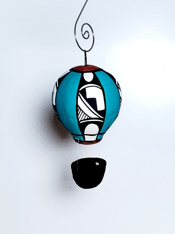 New Mexico Hot Air Balloon Ornament Turquoise with Zia SOLD INDIVIDUALLY