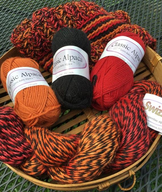 Alpaca Crochet Kit Swizzle Striped Infinity Scarf Yarn And Etsy