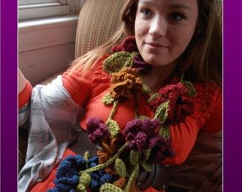 Crochet Kit, Flower Garland Scarf, Alpaca Silk Yarn, Pattern