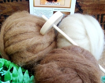 Drop Spindle Kit, Learn to Spin, Alpaca Roving, Instructions