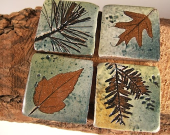 READY TO SHIP Handmade Ceramic Stoneware Tiles, 1.75 inch with Leaf Impressions
