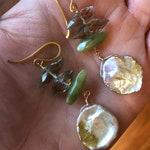 Keishi Pearl, Jade, and amethyst drop earrings