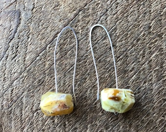 Open Hoop Sterling Silver Earring with Large Citrine Nuggets