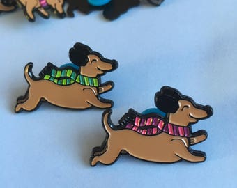Dachshund Dog Enamel Pin, Sausage Dog Lapel Pin, Wiener Dog, Tie Pin, Cute Pin, Stocking Filler, Animal Pin, Gift for Her, Teen Gift