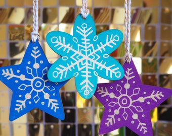 Hand Printed Snowflake and star Wooden Linocut Christmas Tree Decorations (Pack of 3)