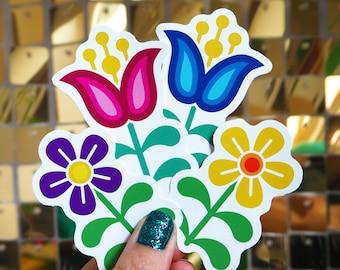 Vinyl Sticker Set - 4 x Scandi Folk Art Flowers, Laptop Decals, Phone stickers,