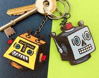 Retro Robot Wooden Keyring