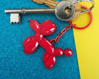 Red balloon dog Wooden Keyring