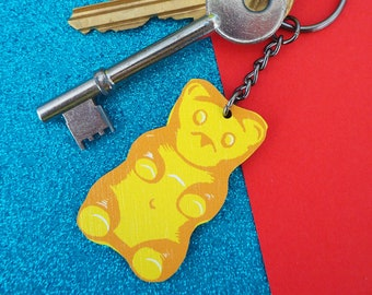 Yellow Gummy Bear Sweetie / Candy Wooden Keyring