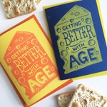 Cheese Funny Birthday Card, Cheesy Card, CheeseLover Card, Getting Old card, Linocut Card, Handprinted Card