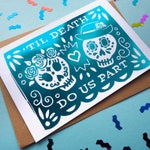 Gold Foil Day of the Dead Wedding Card, Sugar Skull Foil Card, Dia de los Muertos Card, Til Death Do US Part Card, Engagement, Anniversary