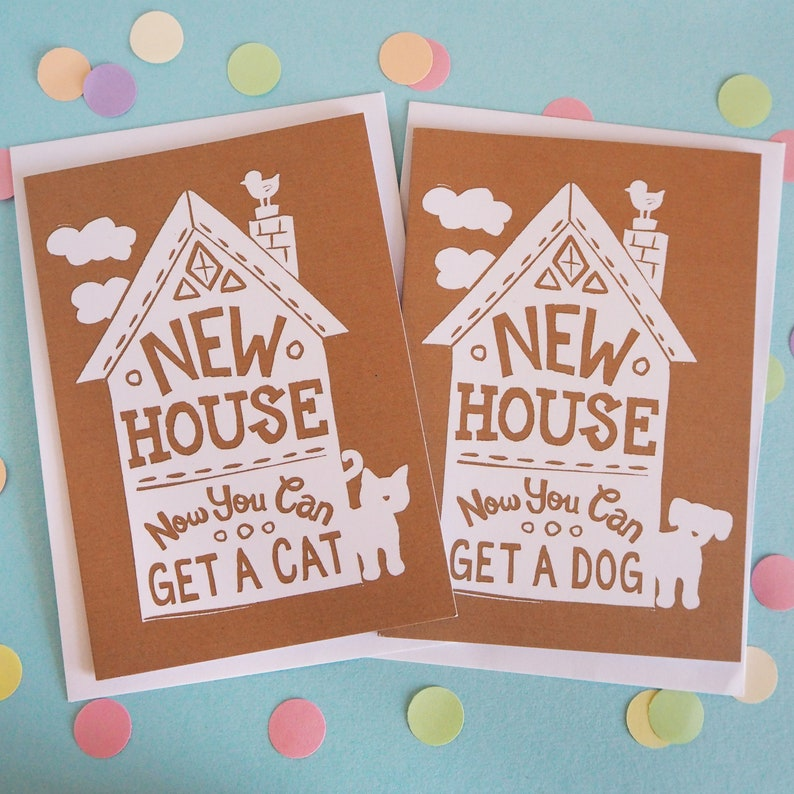 Funny New House Card Moving house card New Home card Cat image 0