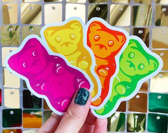 Vinyl Sticker Set - 4 x gummy bear sweets, Laptop Decals, Phone stickers,