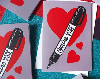 Ultra Fine Funny Pen Pun Anniversary Card A6