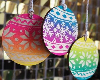 Hand Printed Neon Rainbow Wooden Fair Isle Christmas Jumper Tree Decorations (Pack of 3)