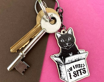 Funny Cat in a box Wooden Keyring, If I Fits, I Sits