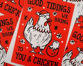 Chicken Christmas cards (pack of 5)  Funny Pun Christmas Card multipack Funny Christmas cards Lino print card, Pun Christmas