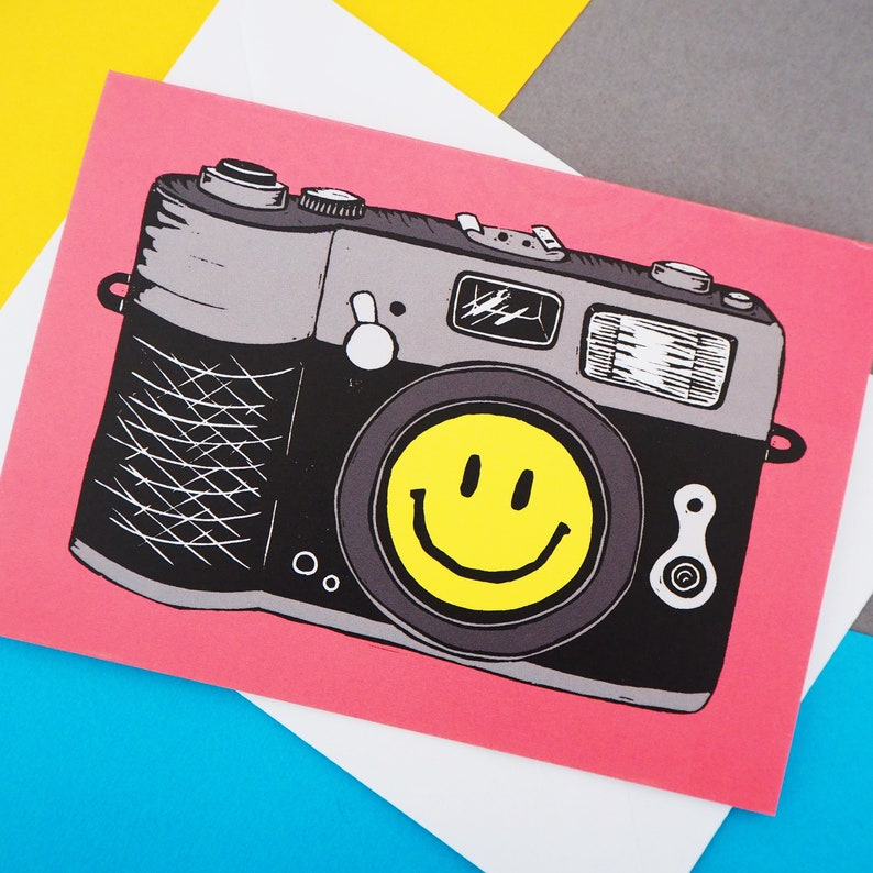 Smile for the Camera Card A6 Size 90s Smiley Face inspired image 0