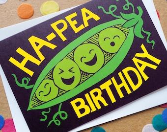 Funny Happy Birthday Card, Pun Birthday Card, Cute Birthday card, Kawaii Greeting card, Food Birthday Card, Ha-Pea Birthday, Happy Birthday