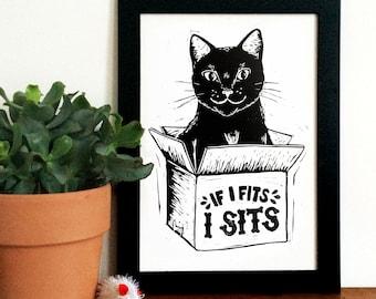 If I Fits, I Sits Linocut Print - , Black Cat in a box Lino Print, Kitty Print, Internet Meme, Funny Print, Hand Printed, Kitten