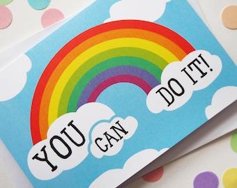 Rainbow Encouragement Card, You Can Do it Card, Good Luck Card, Friendship Card, Graduation Card, Exam Good Luck Card, New Job Card