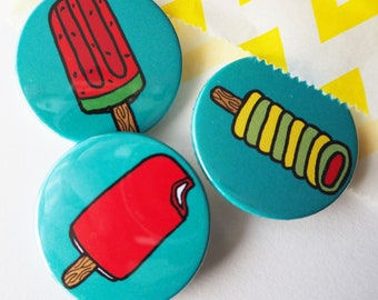 Summer Ice Lolly badges, lapel pin, party bag fillers, party favours, pocicles, Holiday themed gift, Ice Cream Lover