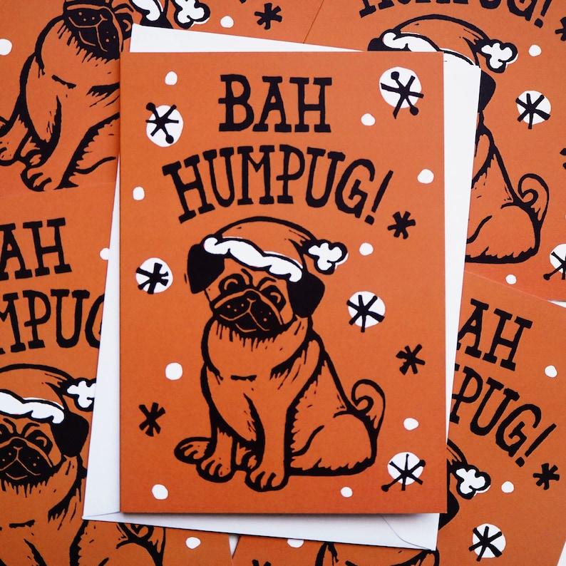 Pug Dog Linocut Funny Christmas cards  Christmas Card image 0