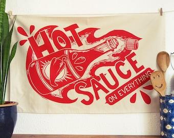 Hot Sauce Tea Towel - From Linocut, 100% Cotton Kitchen Towel, Chilli Lover Gift, Tea Towel, Funny Dish Towel, Mum Gift, Food Print