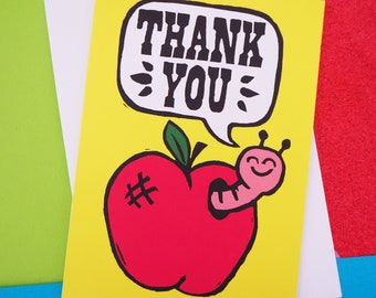Little Worm and Apple Cute thank you Card A6 (perfect for teachers)