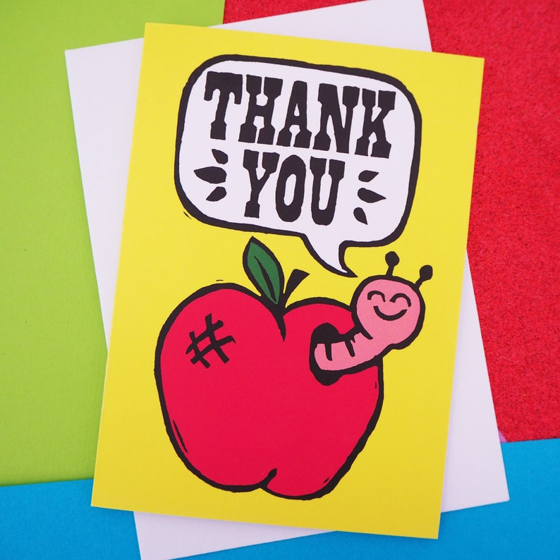 Little Worm and Apple Cute thank you Card A6 perfect for image 0