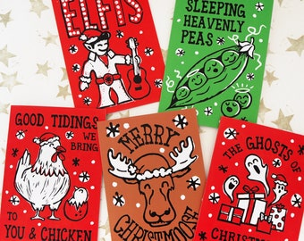 Funny Christmas Cards (SPOOKY MOOSE PACK) Christmas Pun Cards, Linocut Christmas Cards, Pack of Cards, Non-traditional, Quirky, Unusual