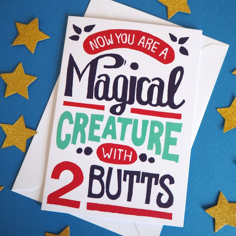 Funny Expecting Baby Card Magical Creature with two Butts image 0