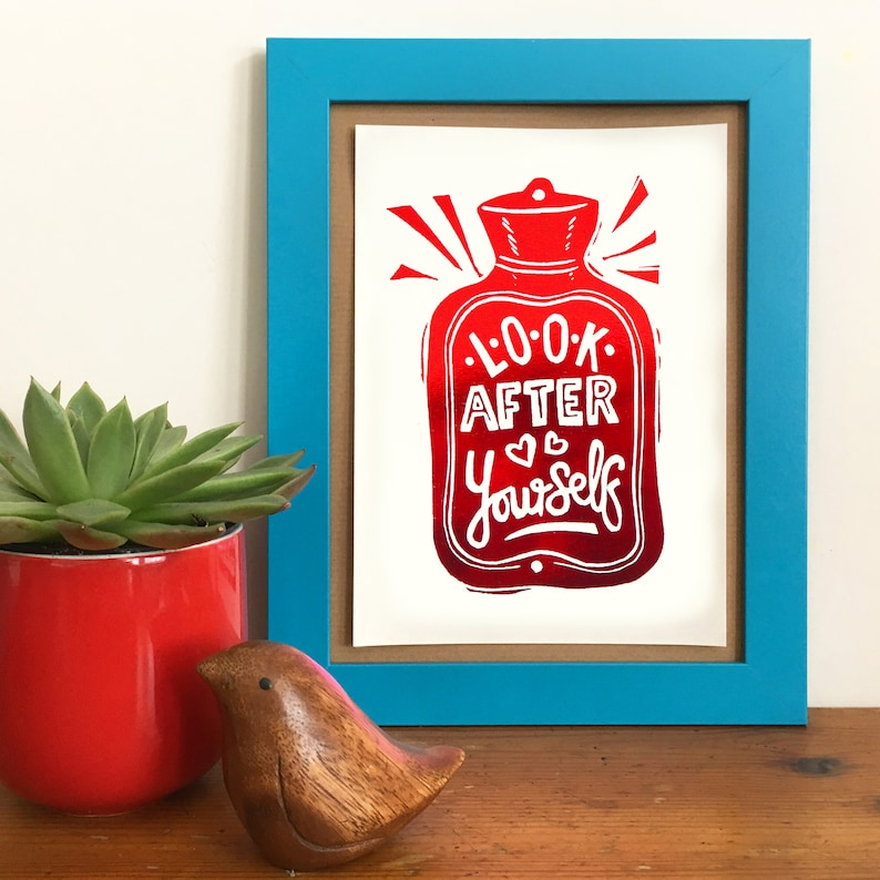 Look After Yourself Foil Print From Linocut Letterpress image 0