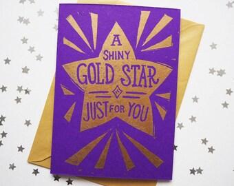 Gold Star Well Done Card, Congratulations card, Funny Card Linocut Card, Handprinted Card