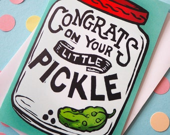 Funny New Baby Card, Little Pickle Baby Card, Gender Neutral Baby Card, Baby Congratulations Card, Cute Expecting Card, Altenative Baby Card