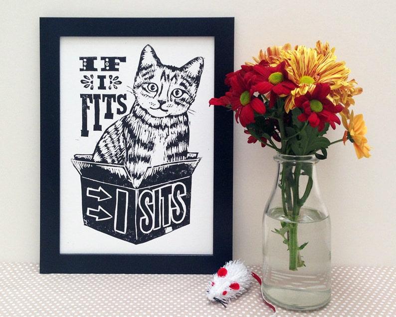 Cat Linocut Print  If I Fits I Sits Lino Print Kitty image 0