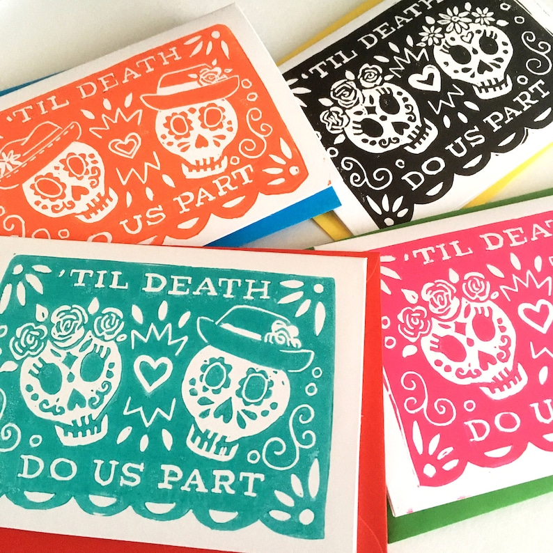 Til Death Do Us Part Day of the Dead Linocut Wedding Card  image 0