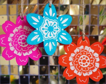 Hand Printed Mid-century Flower Power Wooden Linocut Christmas Tree Decorations (Pack of 3)