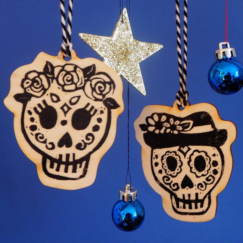 Sugar Skull Hanging Decorations Single or set Printed Wooden image 0