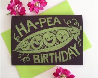 Funny Happy Linocut Birthday Card - Pun birthday card, Peas in a pod, hand printed cards, Vegan card, vegetable card, funny food card